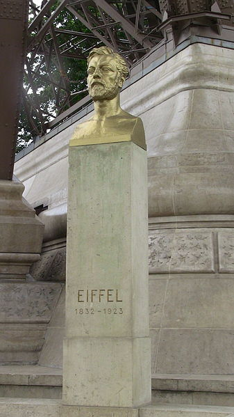 Bust of Eiffel at the foot of the Eiffel Tower in Paris.