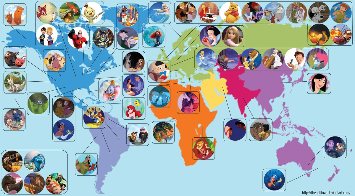 Disneyland Locations World Map.Map The Geographic Locations Of Disney And Pixar Films Around The