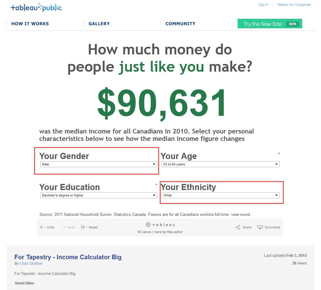Tapestry Income Calculator White Male