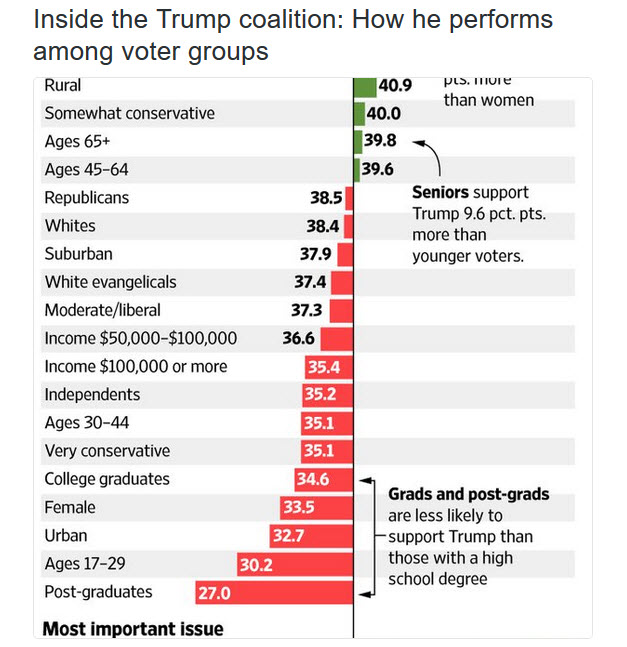Trump Coalition - How he performs among voter groups