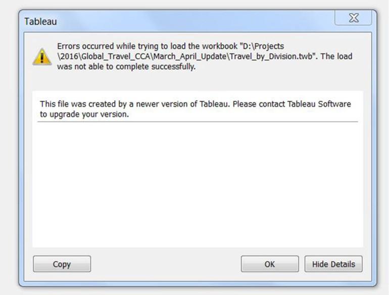 twb Error Message