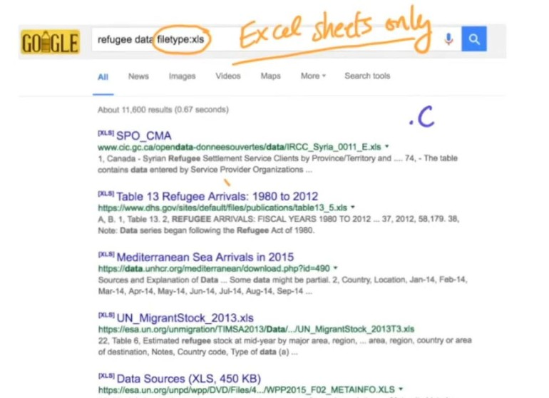 Google Refugee Data - Excel Sheets Only