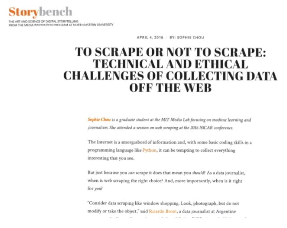 Scraping Data Ethics Article