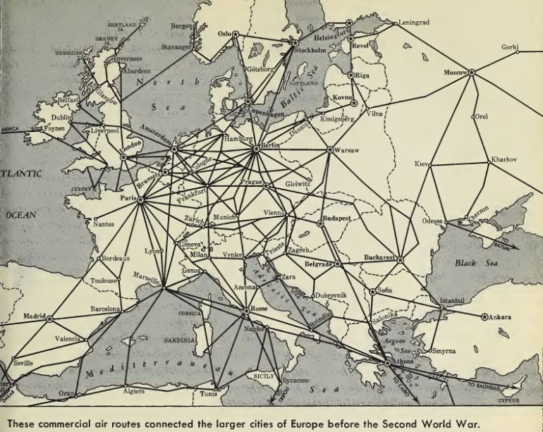Commercial Air Routes Europe