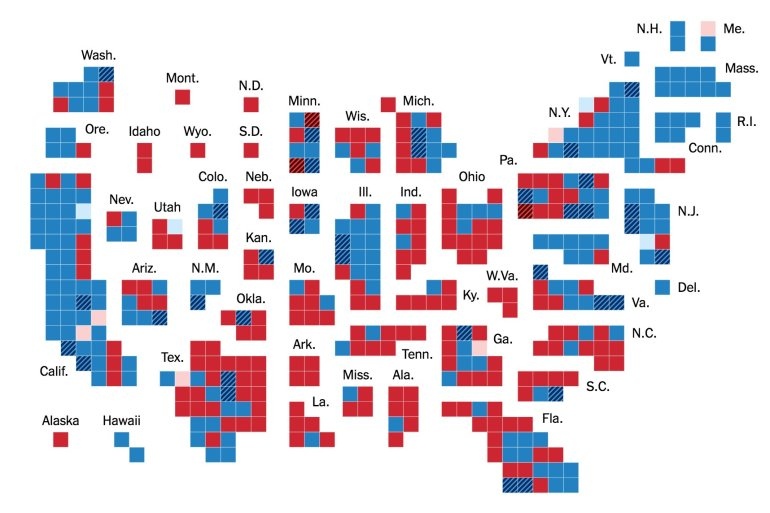 Cartogram - 2018 Midterm Elections NYT