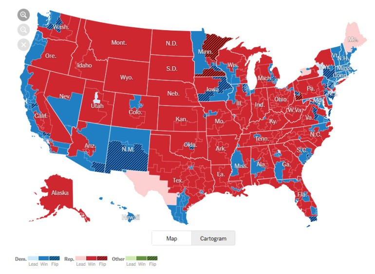 Map - 2018 Midterm Elections NYT