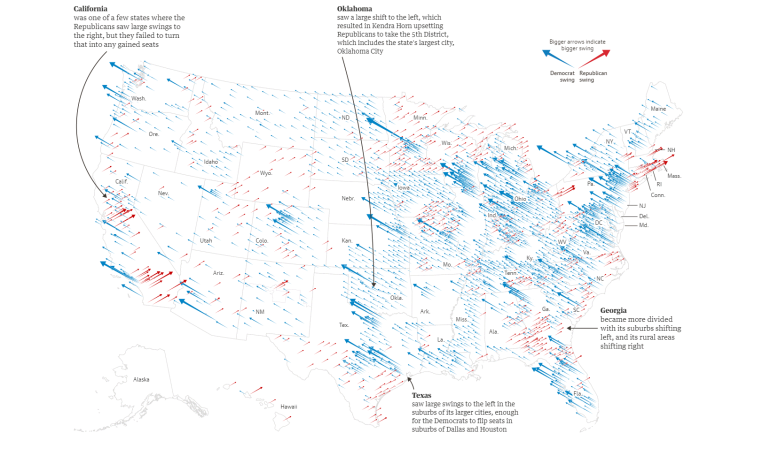 midterm elections 2018 shifting arrow map
